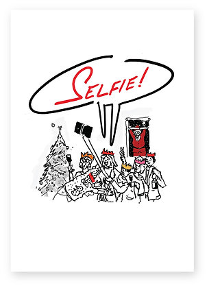 People at Christmas party taking selfie, SELFIE! FUNNY CARD, HOW FUNNY GREETING CARD