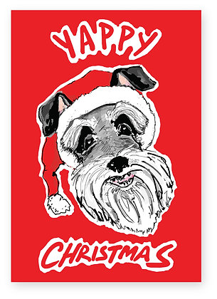 Yappy dog wearing Santa hat, YAPPY CHRISTMAS FUNNY CARD, HOW FUNNY GREETING CARD