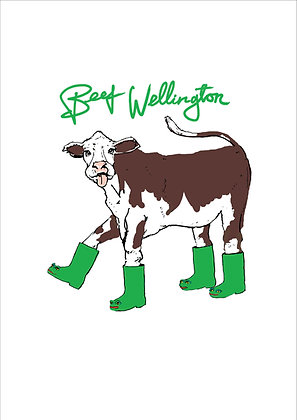 Cow Wearing Wellingtons Sticking Tongue Out,Beef Wellington Funny Print, How Funny Prints, Funny Wall Art, Humour Print