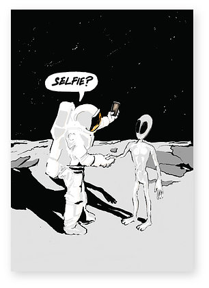 Astronaut asking alien for a selfie on the moon, SELFIE FUNNY CARD, HOW FUNNY GREETING CARD