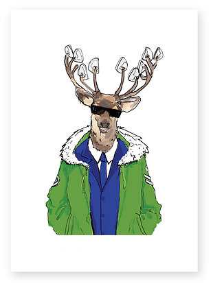 Deer Wearing Mod Suit And Parka, DASHER MOD FUNNY CARD, HOW FUNNY GREETING CARD