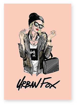 Confident Cool Girl in sunglasses and leather jacket, Urban Fox FUNNY CARD, HOW FUNNY GREETING CARD