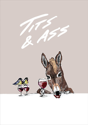 Blue Tits And An Ass With Glasses Of Wine,Tits & Ass A4 Funny Print, How Funny Prints, Funny Wall Art, Humour Print