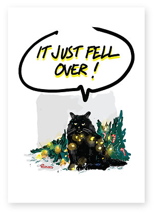 Naughty cat with Christmas lights round it, MISCHIEVOUS CAT FUNNY CARD, HOW FUNNY GREETING CARD