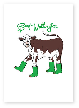 Cow sticking tongue out wearing green boots, BEEF WELLINGTON FUNNY CARD, HOW FUNNY GREETING CARD