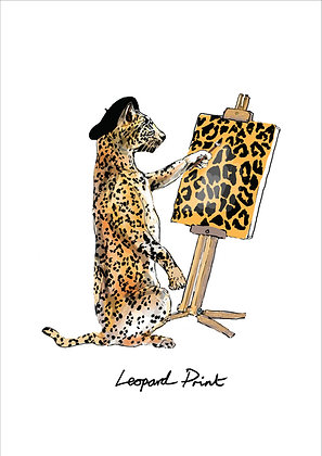 Leopard Wearing Beret Painting,Leopard Print Funny Print, How Funny Prints, Funny Wall Art, Humour Print