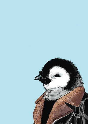 Baby Penguin In Shearling Jacket, Cool Chick A4 Funny Print, How Funny Prints, Funny Wall Art, Humour Print