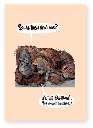 Orangutan, baby orangutan, fashion, funny card, how funny