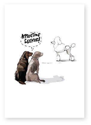 DOGS IN PARK, POODLE, MOTHER, DAUGHTER, ATTENTION, FUNNY CARD, HOW FUNNY