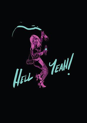 Neon Pink Girl Holding Champagne Bottle Dancing,Hell Yeah! A4 Funny Print, How Funny Prints, Funny Wall Art, Humour Print