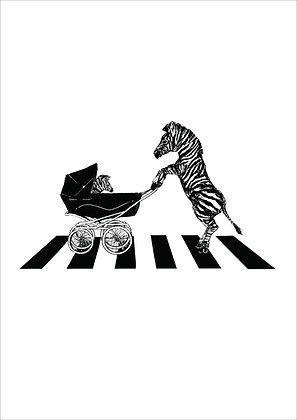 Zebra On Zebra Crossing Pushing Baby In Pram, Zebra Crossing A4 Funny Print, How Funny Prints, Funny Wall Art, Humour Print