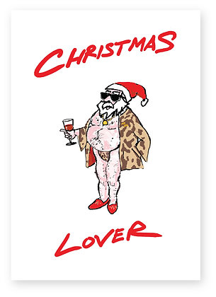 Father Christmas in sunglasses and bathrobe drinking wine, CHRISTMAS LOVER FUNNY CARD, HOW FUNNY GREETING CARD