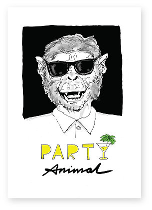 Smiling monkey wearing sunglasses, PARTY ANIMAL FUNNY CARD, HOW FUNNY GREETING CARD