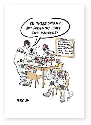 3 builders in café eating breakfast relaxing, BUILDERS' BREAKFAST FUNNY CARD, HOW FUNNY GREETING CARD
