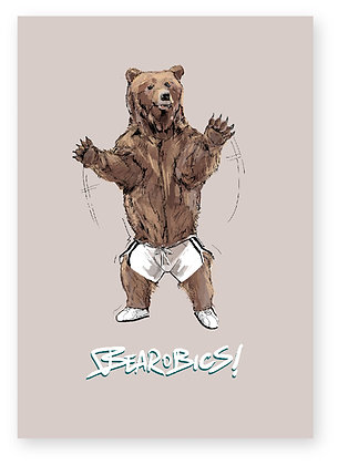 bear in shorts, aerobics, animal card, funny greeting card, how funny