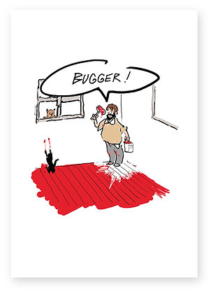 Man in room painting floor red, PAINTED INTO A CORNER FUNNY CARD, HOW FUNNY GREETING CARD