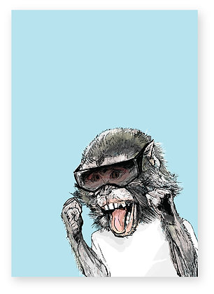 Baby monkey wearing sunglasses smiling, Cheeky Monkey FUNNY CARD, HOW FUNNY GREETING CARD