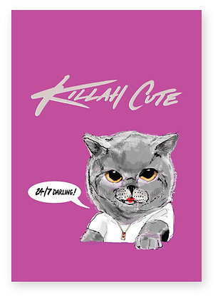 Cool grey female kitten wearing white t-shirt and a chain, KILLAH CUTE FUNNY CARD, HOW FUNNY GREETING CARD
