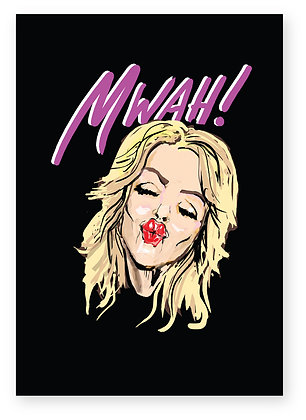 Blonde feisty girl blowing a kiss, MWAH! FUNNY CARD, HOW FUNNY GREETING CARD