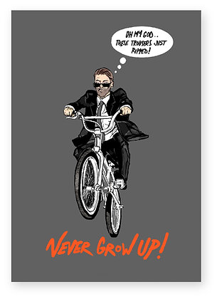 man on bmx, man in suit, sunglasses, bmx, funny card, how funny