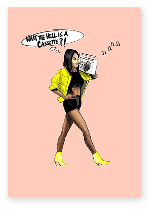 black girl, neon jacket, high heels, ghetto blaster, funny card, how funny