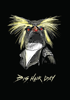 Penguin With Big Hair,Big Hair Day A4 Funny Print, How Funny Prints, Funny Wall Art, Humour Print