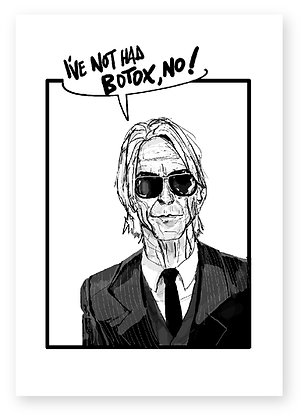 Paul Weller in suit, suit, sunglasses, botox, funny card, how funny