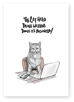 CAT AND LAPTOP, ANNOYED CAT, FUNNY CARD, BUSINESS, HOW FUNNY