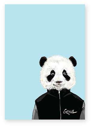 Baby Panda in Bomber jacket, Panda Style FUNNY CARD, HOW FUNNY GREETING CARD