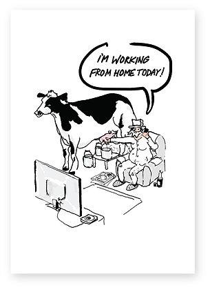 Farmer working from home milking cow, FARMER WORKING FROM HOME FUNNY CARD, HOW FUNNY GREETING CARD