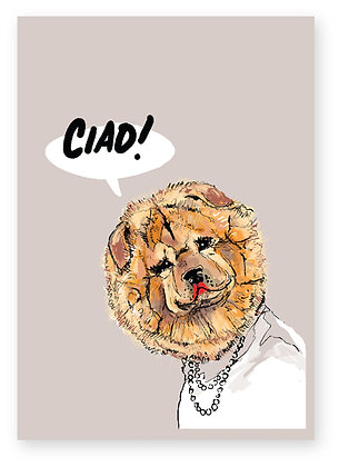 CIAO, DOG, HAPPY DOG, CHOW CHOW, FUNNY CARD, HOW FUNNY