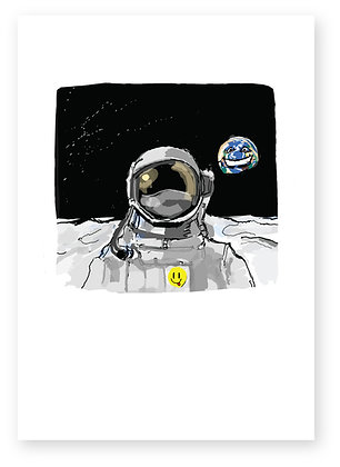 Astronaut on moon with smiling world behind, OVER THE MOON FUNNY CARD, HOW FUNNY GREETING CARD