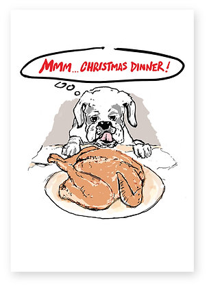 Dog licking the Christmas dinner on a plate, MMM... CHRISTMAS DINNER! FUNNY CARD, HOW FUNNY GREETING CARD