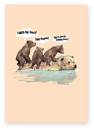 BEAR AND CUBS, wildlife, TAXI, MOTHER, FUNNY CARD, HOW FUNNY