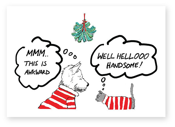 Awkward cat and dog meeting under mistletoe, CAT & DOG MISTELTOE FUNNY CARD, HOW FUNNY GREETING CARD