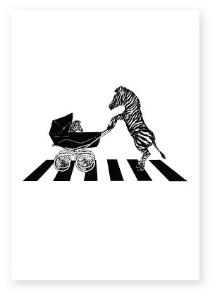 Zebra pushing baby in pram on zebra crossing, ZEBRA CROSSING FUNNY CARD, HOW FUNNY GREETING CARD