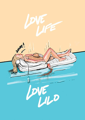 Girl On Lilo In Swimming PooI,Love Life Love Lilo A4 Funny Print, How Funny Prints, Funny Wall Art, Humour Print