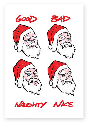 Four versions of Santa in a square, GOOD, BAD, NAUGHTY & NICE FUNNY CARD, HOW FUNNY GREETING CARD