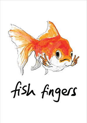 GoldFish Smiling With Hands In Victory Signs,Fish Fingers Funny Print, How Funny Prints, Funny Wall Art, Humour Print