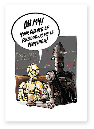 C3PO ON A DATE WITH IG88, Rebooted FUNNY CARD, HOW FUNNY GREETING CARD