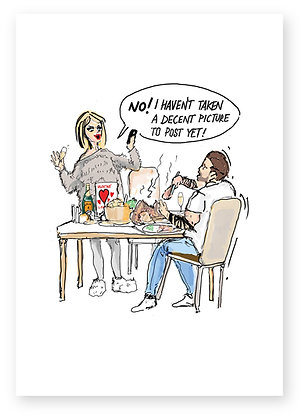 Girlfriend annoyed with boyfriend at dinner table, SOCIAL MEDIA FUNNY CARD, HOW FUNNY GREETING CARD