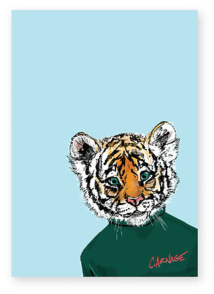 Baby Tiger wearing green sweatshirt, Tiny Tiger FUNNY CARD, HOW FUNNY GREETING CARD