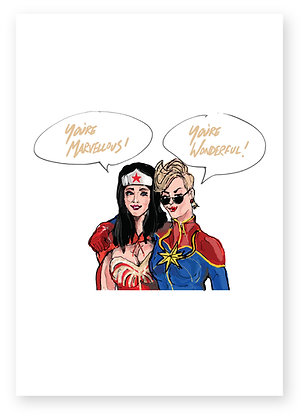 Wonder women and captain marvel embracing, WONDER WOMEN FUNNY CARD, HOW FUNNY GREETING CARD