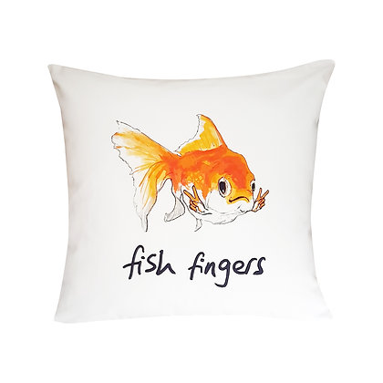 Goldfish Smiling With Hands In Victory Salute, Fish Fingers How Funny Cushion, White & Orange, 45cm x 45cm, Funny Gift