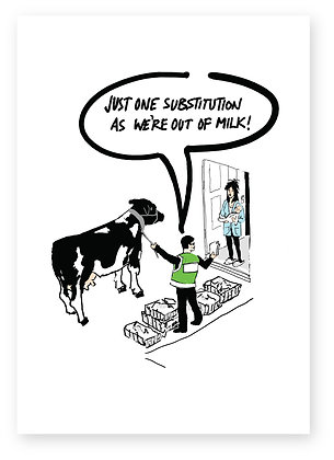 Delivery man at customers door with a cow, ONLINE SHOPPING FUNNY CARD, HOW FUNNY GREETING CARD