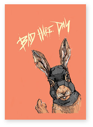 Rude hare wearing balaclava and sticking finger up, BAD HARE DAY FUNNY CARD, HOW FUNNY GREETING CARD