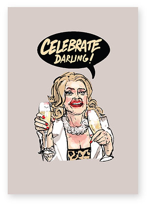 CELEBRATE, CHAMPAGNE, MIDDLE AGED WOMEN, LIPSTICK, DRUNK, FUNNY CARD, HOW FUNNY
