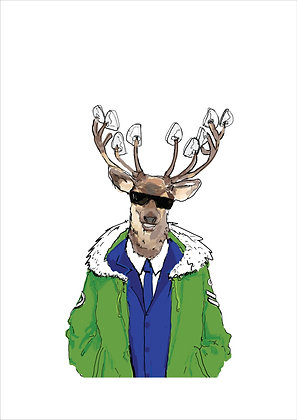 Deer Wearing Mod Suit And Parka, Mod Deer A4 Funny Print, How Funny Prints, Funny Wall Art, Humour Print
