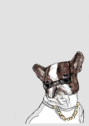 French Bull Dog Wearing Sunglasses And Chain,Mr Big A4 Funny Print, How Funny Prints, Funny Wall Art, Humour Print