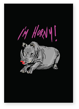 Horny rhino with red lipstick smiling, I'M HORNY! FUNNY CARD, HOW FUNNY GREETING CARD